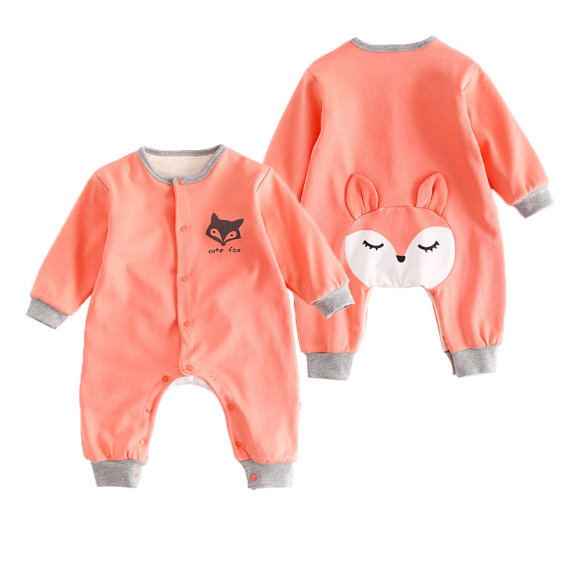 Double Layers Warm Baby Rompers Boys Girls Cartoon Fox Long Sleeve Jumpsuit New Born Baby Outfits Winter Thicken Clothing 2017 baby boys girls long sleeve winter rompers thicken warm baby winter clothes roupa infantil boys girls outfits cc456 cgr1