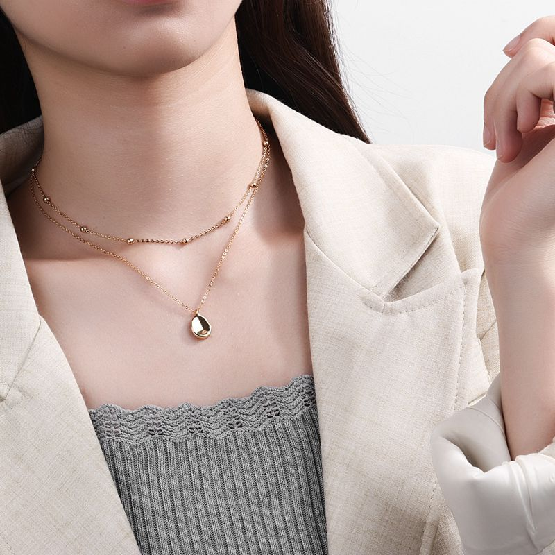 Silvology 925 Sterling Silver Double Layer Necklace Gold Round Bead Chain Concave Surface Elegant Pendant Necklace Fine Jewelry in Necklaces from Jewelry Accessories