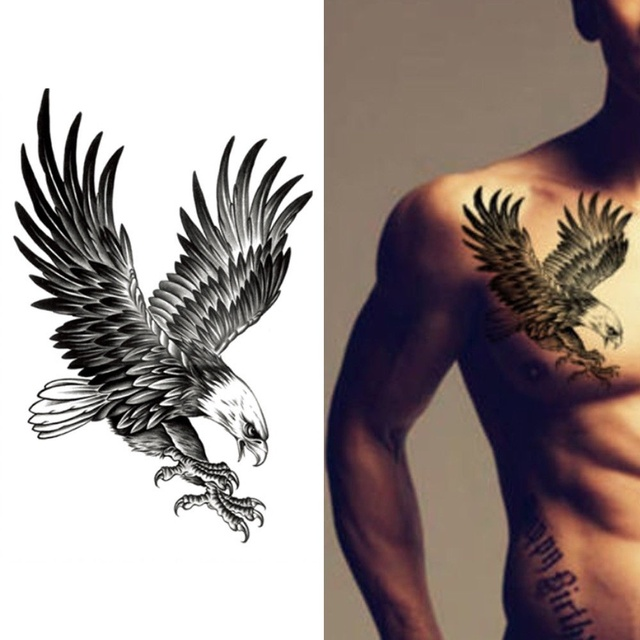 Geometry Cool Temporary Tattoo Sticker waterproof male traditional black eagle flower arm tattoo eagle wings Eagle Fake Tattoo