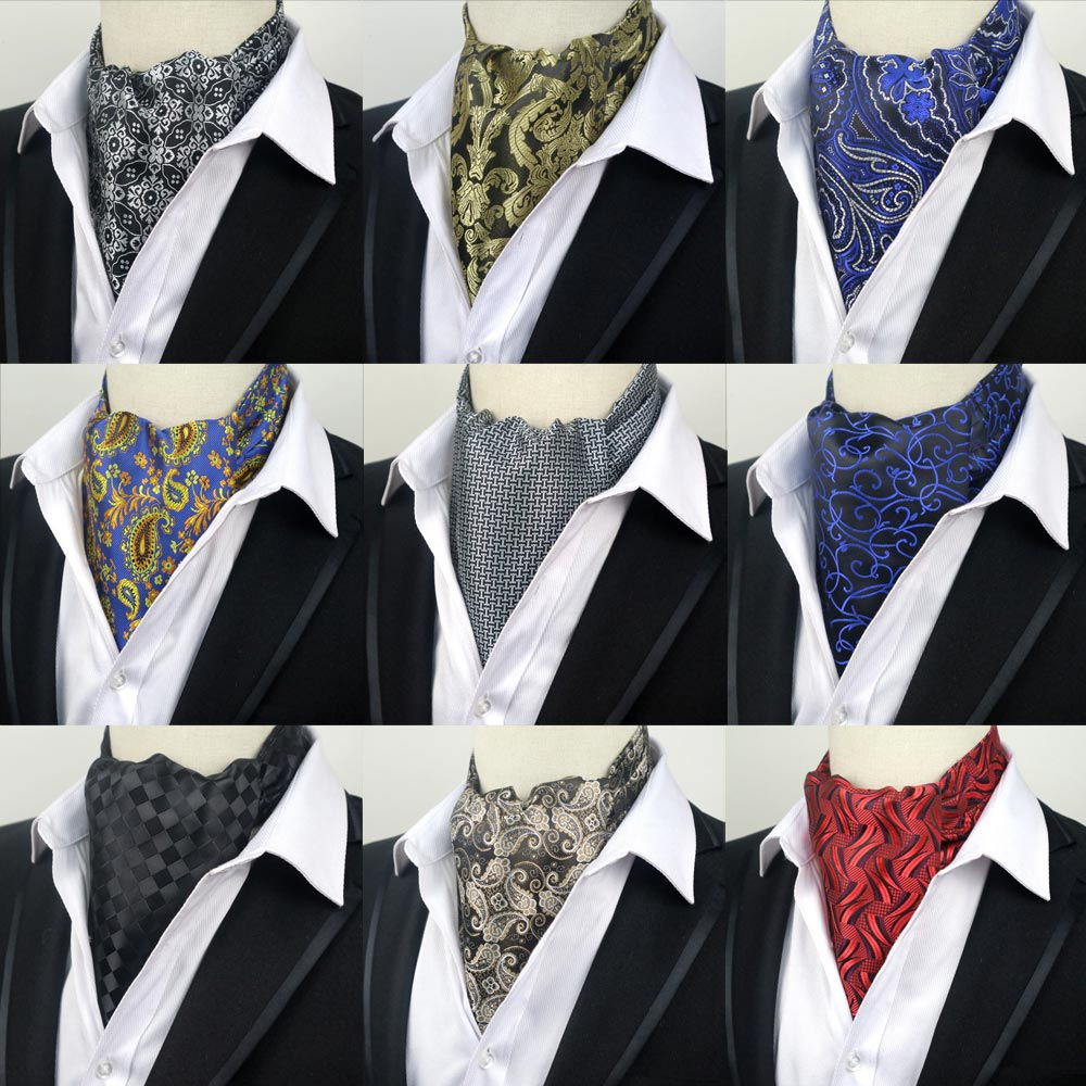 67 Colors Fashion Men Dot Floral Stripe Paisley Formal Cravat Ascot Tie Gentleman Man Self Tied  Polyester Silk Neckties Wedding