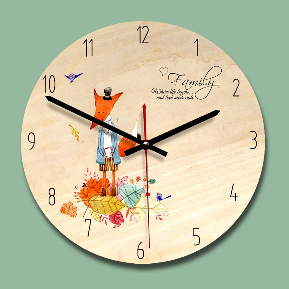 Clock, Round, Wall, Sparkling, Wooden, Cartoon