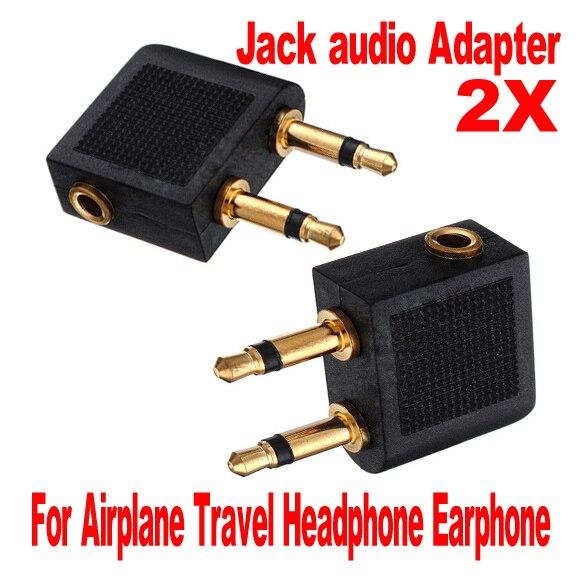 2pcs Airline Airplane Earphone Headphone Headset Jack Audio Adapter 3.5mm