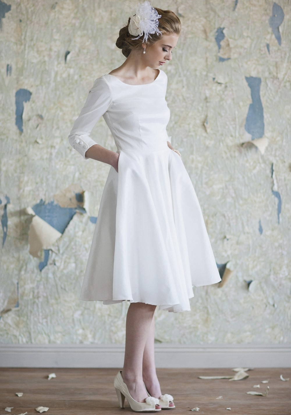Simple White Short Knee Length Pockets Satin Wedding Bridal Dress ...