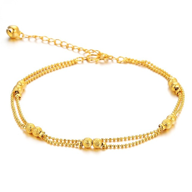 9cf7b5e73 City New Fashion Jewelry Frosted Matte Double Little Ball Anklets Bracelet  for Women / Lady / Girl KZ728