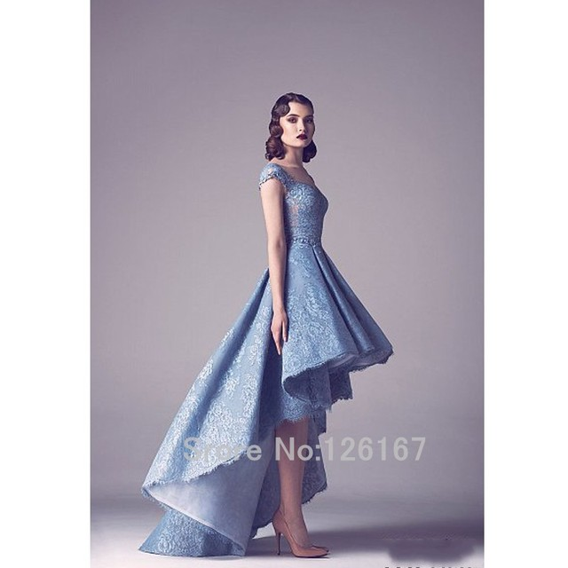 Sky Blue Beautiful Wedding Dress High Low Bridal Dresses 2017 New