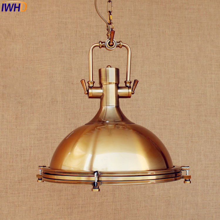 IWHD American Retro Pendant Lighting Fixtures Gold Copper Style Loft Industrial Vintage Lamp Hanging Lights Lamparas Lighting american edison loft style rope retro pendant light fixtures for dining room iron hanging lamp vintage industrial lighting