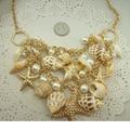 Conch Shell Starfish Moda Simulado Collar de perlas Dulce de Moda Estrella de Mar Plateado Collares y Colgantes Para Las Mujeres de Varios Niveles