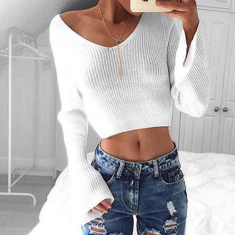 Knitted Sexy T-shirt Women Short Crop Sweater Jumper Tops Girls Knitting Flare Sleeve Shirts Tees Fashion Style IU956487
