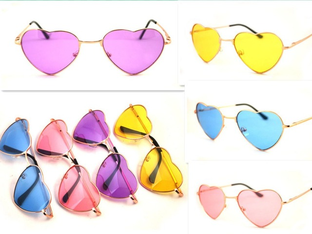 e4822abfdad 2014 new arrival Free Shipping Cute Heart Shaped Golden frame pink lens  Glasses Sunglasses lowest price