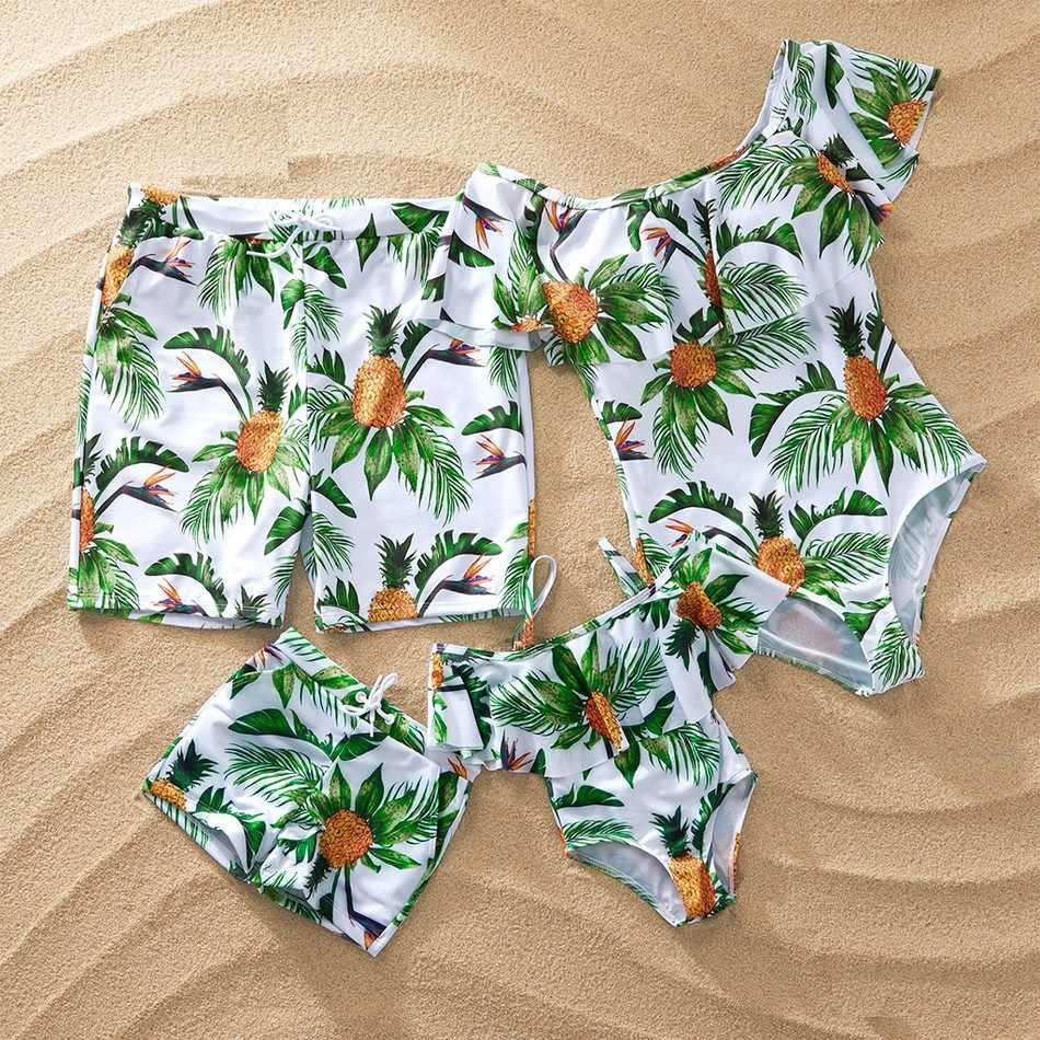 pineapples print family matching swimwear beach mommy and me swimsuits dad son swimming trunks mother daughter matching clothes