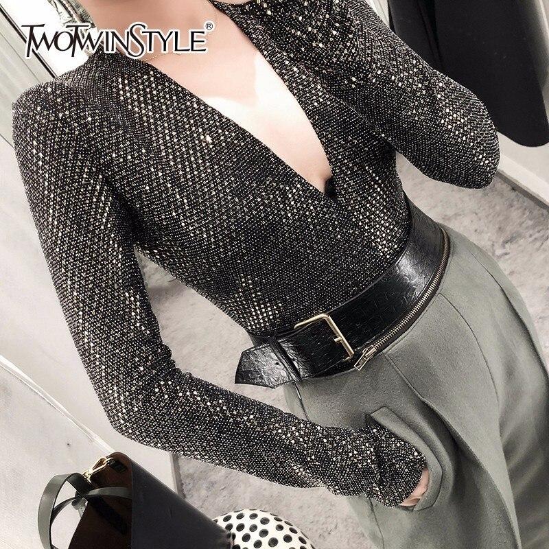 TWOTWINSTYLE Sequins Patchwork Bodysuits For Women Deep V Neck Long Sleeve Slim Basic La ...