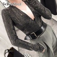 TWOTWINSTYLE Sequins Patchwork Bodysuits For Women Deep V Neck Long Sleeve Slim Basic Large Size Sexy