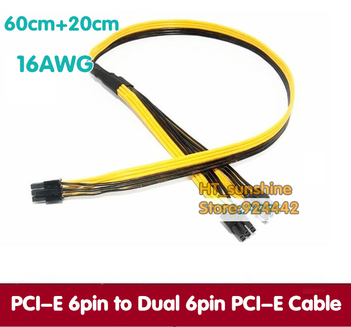 PC Video Card 16AWG  PCI-E 6PIN male to Double 2-port PCI-E 6pin male Power Extension Cable for Service 60cm+20cm sent by DHL кабель питания 20 shippment mac pro g5 mac 6pin 2 pci e 6pin 4500 gtx285 hd4870 hd5770 gtx285