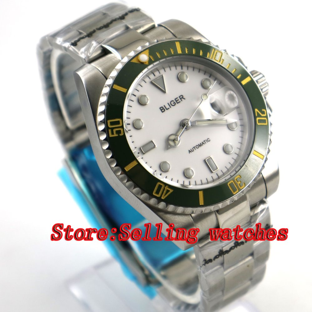 40mm Bliger white Dial ceramic bezel Sapphire Glass Date Window Automatic Movement Mens Mechanical Wristwatches40mm Bliger white Dial ceramic bezel Sapphire Glass Date Window Automatic Movement Mens Mechanical Wristwatches