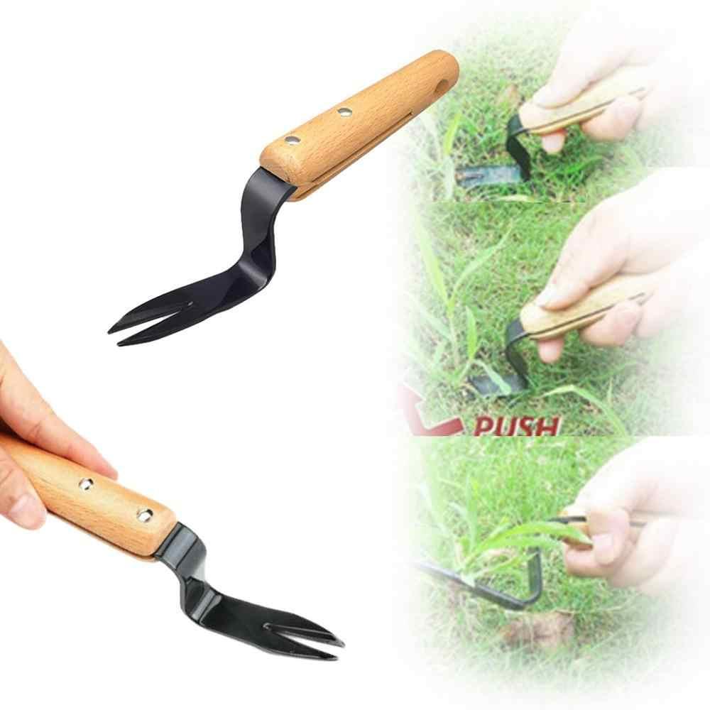 Gegabelten Kopf Hand Weeder Puller Terrasse Carbon Stahl Holz Griff Garten Entfernen Unkraut Schaufel Garten Hof Trimmen Gadgets ** D
