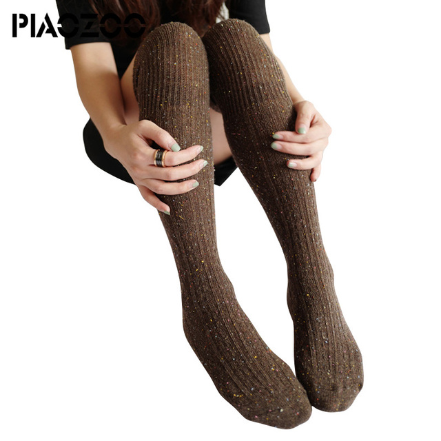 3d3bbffb4b1 2018 Free Shipping New Spring Autumn Winter Cotton Knitted Stockings Wool  Braid Over Knee Socks Thigh Highs Hose Stockings P25