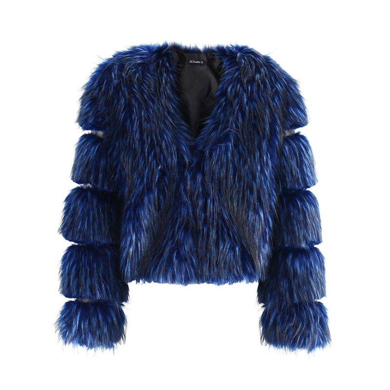 Longues Manches Moelleux D8a80 Femmes Hiver Bleu En Chaud Pour À Fourrure Fausse Décontracté Automne Noir Chic Scsech Survêtement Manteau Nouveau qwxX1UP7