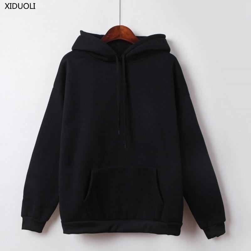 Loose sweet Fashion Hoodies 2019 New autumn and winter pure color sweatshirt female long sleeve Casual Harajuku hoodie tops in Hoodies amp Sweatshirts from Women 39 s Clothing