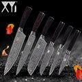 <font><b>XYj</b></font> ножи из нержавеющей стали кухонные ножи Набор инструментов для очистки овощей 2 * Santoku шеф-повара для нарезки, кухонный аксессуар для приго...