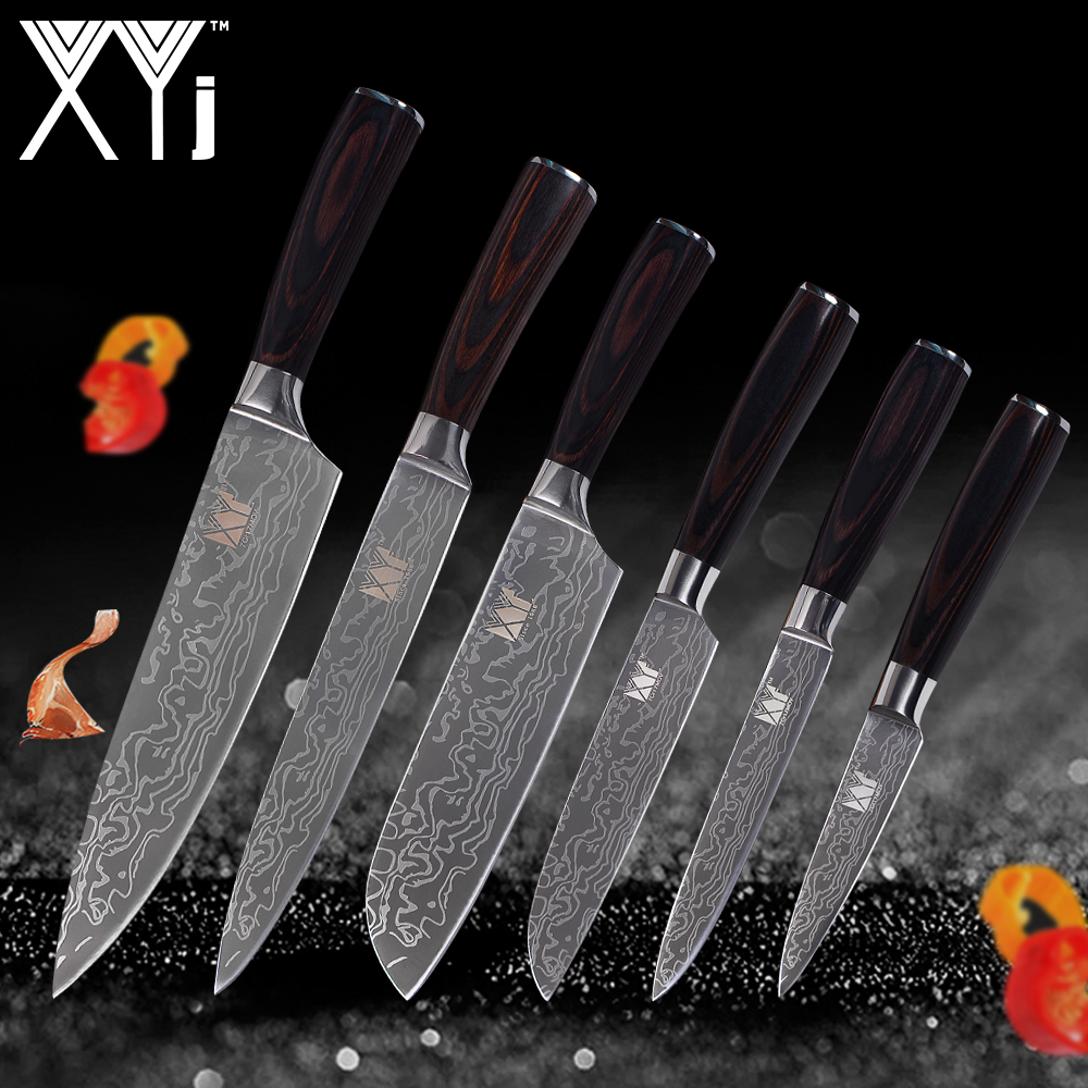 XYj Stainless Steel Knives Kitchen Cooking Knives Set Tools Paring Utility 2*Santoku Chef Slicing Kitchen Cooking Accessories