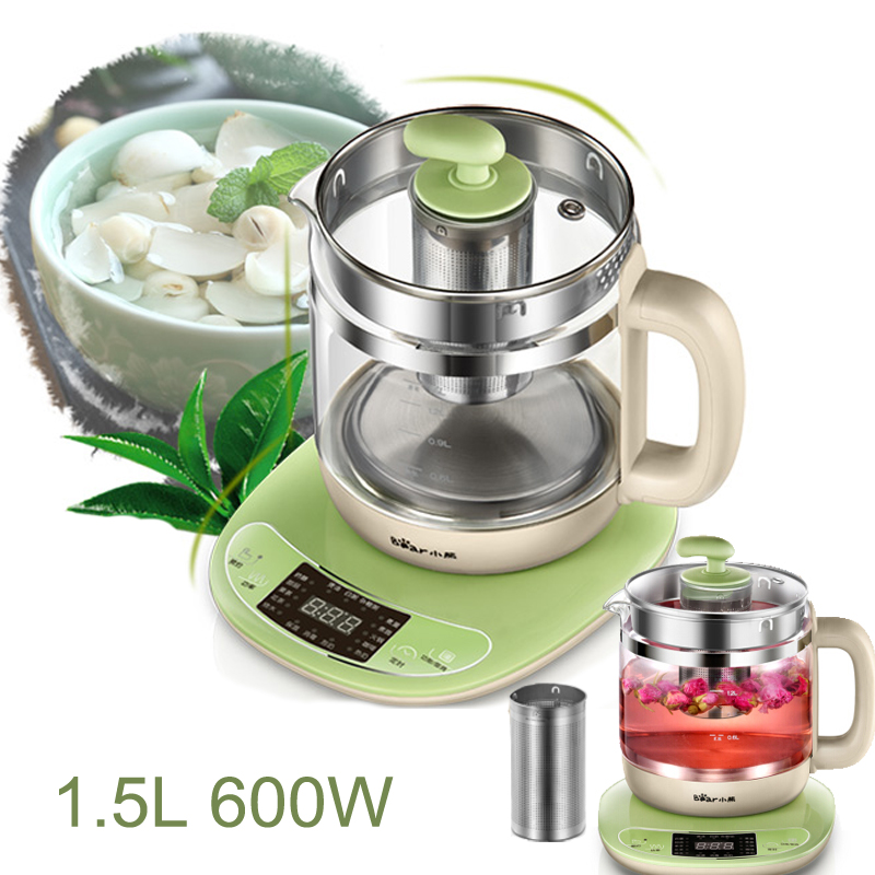 15%JA37,1.5L Thick Glass Health Preserving Pot Thermal Insulation Electric Kettle 16 Functions Timed Touch Panel Anti-dry цены онлайн