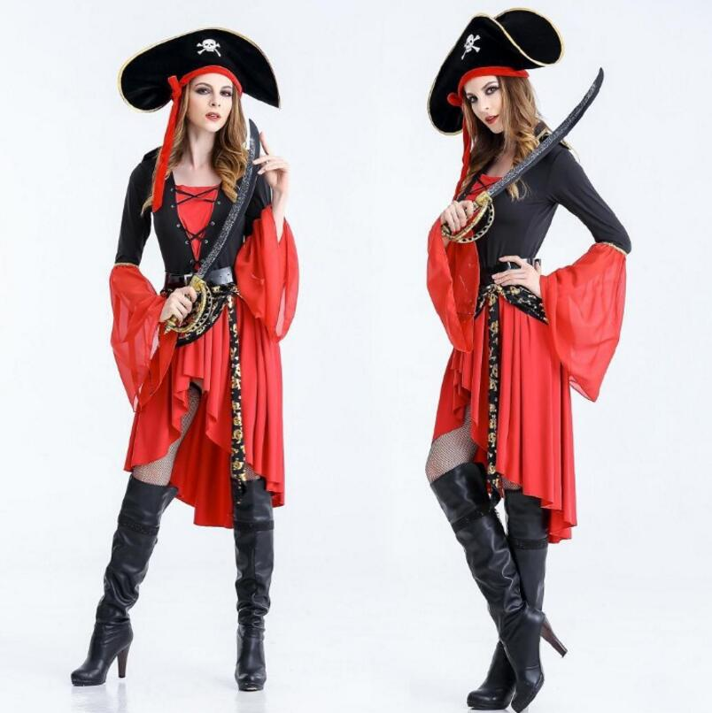 Halloween Pirates of the Caribbean Captain Female a Bar Party Stage Suit Adult Women Cosplay Costumes Roleplay Party Supplies