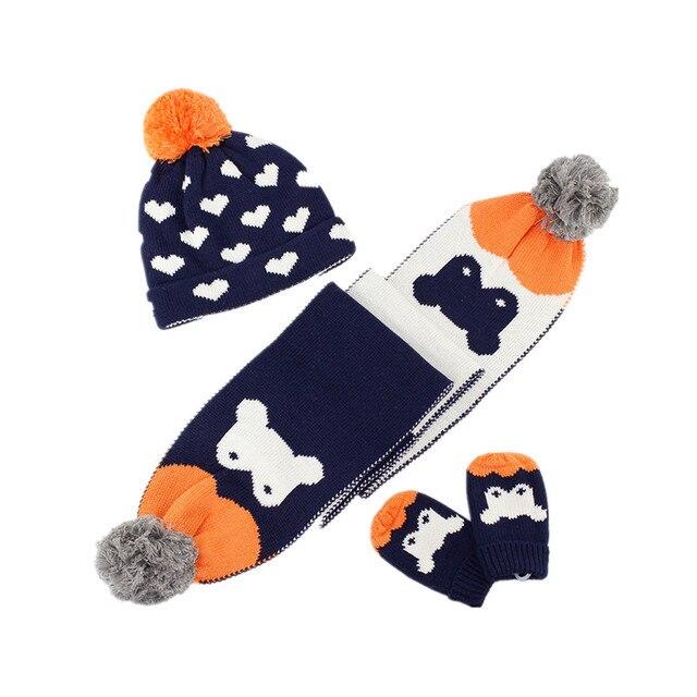 Ragazzi ragazze cuore stampa maglia cappello sciarpa e guanti set bambino    kids fashion autunno inverno 63f082847798