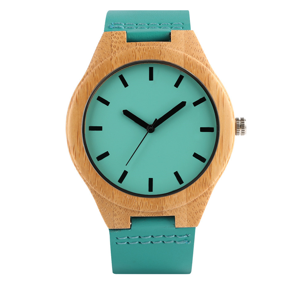 Bamboo Wood Wristwatches Man Casual Watch Men Blue Color Dial Leather Band Sport Men's Watches Timepieces Male Clock Gifts 2019