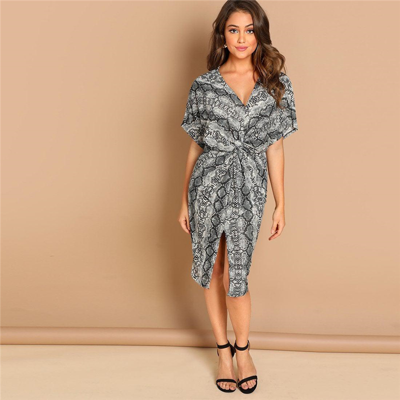 Multicolor Twist Split Front Leopard Print Dress V Neck Fall Party Going out Modern Lady Women Elegant Dresses