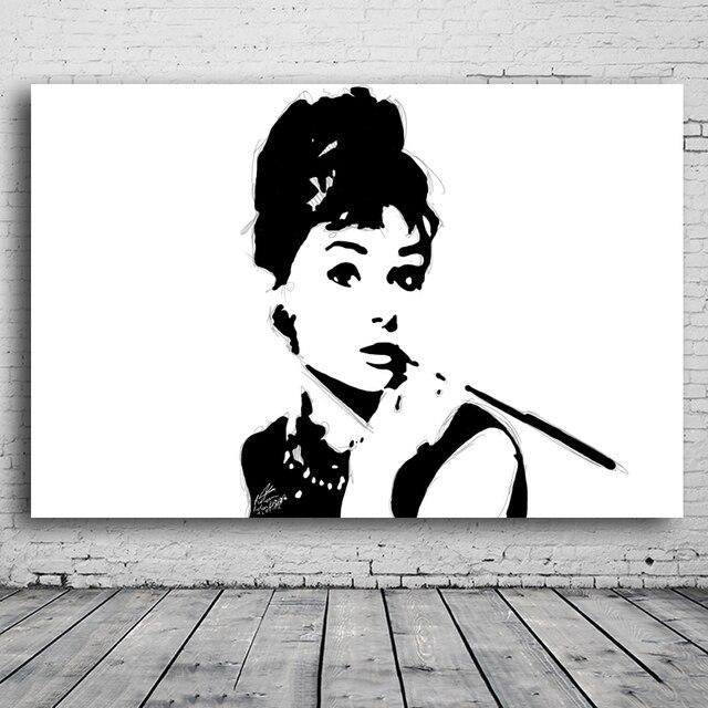 a68708502af Zwart-wit Schilderijen Audrey Hepburn Portret Schilderij Reproductie Muur  Schilderen Art Foto Canvas Prints Home
