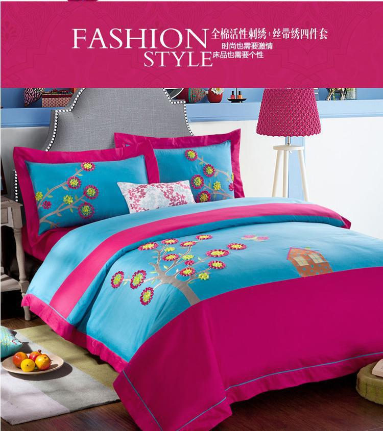 Exceptional Blue Pink Colorful Designer Brand Bedding Bedroom Bed Sheets Sets King For  Queen Size Duvet Cover Bedspread Patchwork In Bedding Sets From Home U0026  Garden On ...