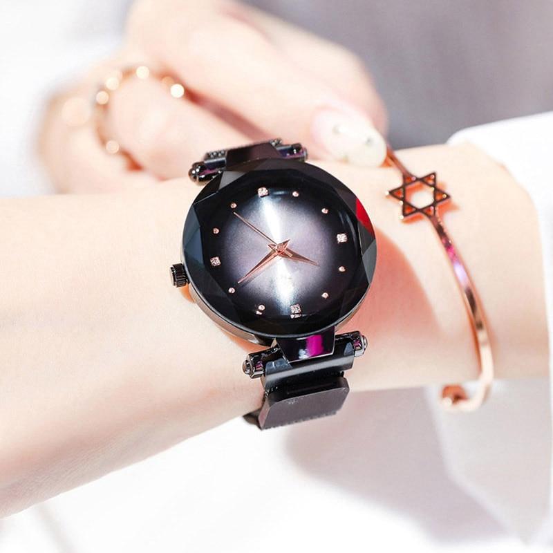 2019 Hot Sale Starry Sky Watch Women's Luxury Magnetic Magnet Buckle Quartz Wristwatch Geometric Surface Female Diamond Watches