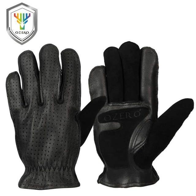Motorcycle Gloves, Genuine Goatskin, Black / Yellow