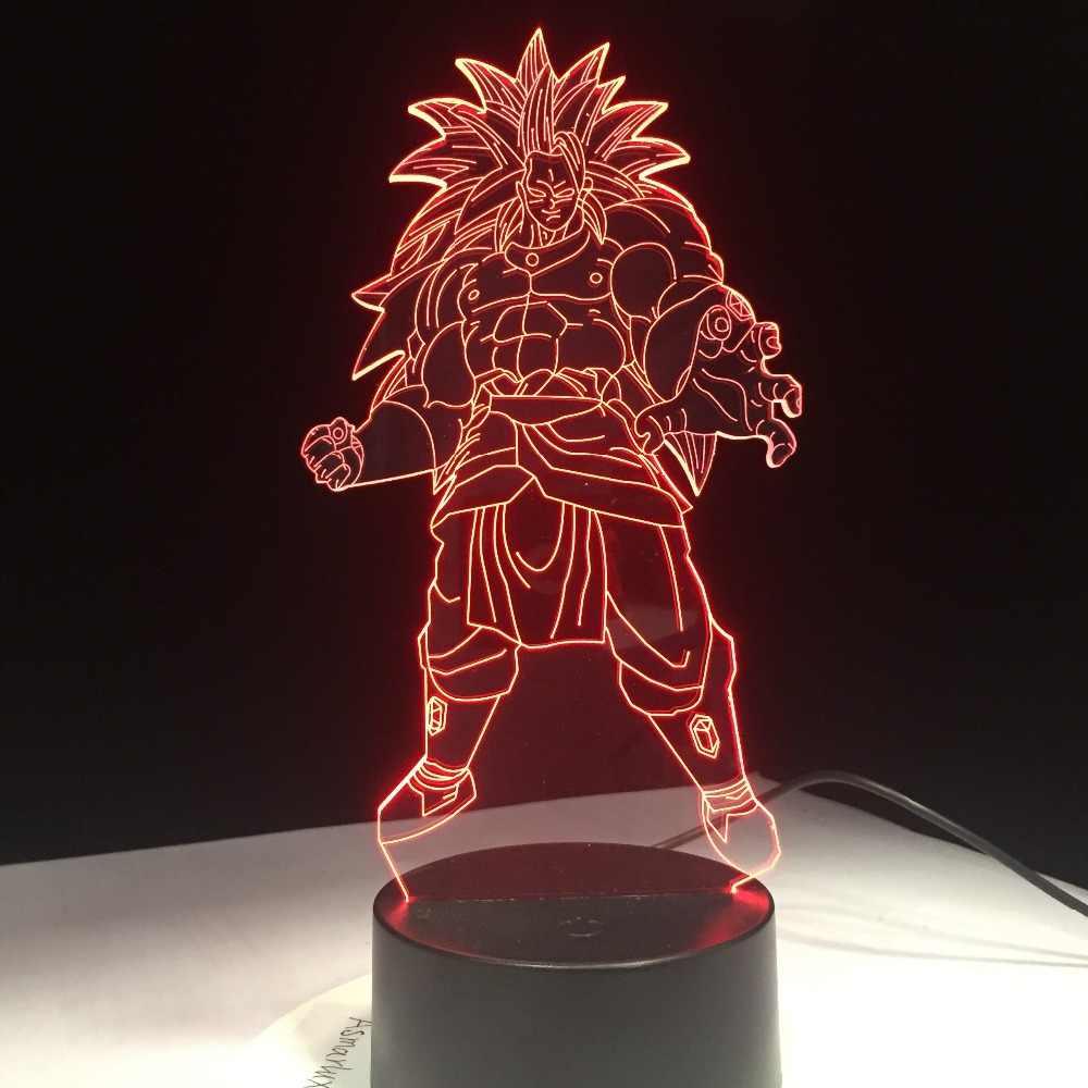 Dragon Ball Super Saiyan Deus Goku Figuras de Ação 3D Ilusão Candeeiro de Mesa 7 Mudando A Cor Night Light Crianças Filho Presentes navio da gota