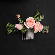 Greenery Floral Hair Comb Pink Flower Bride Women Accessories for Wedding Ceremony
