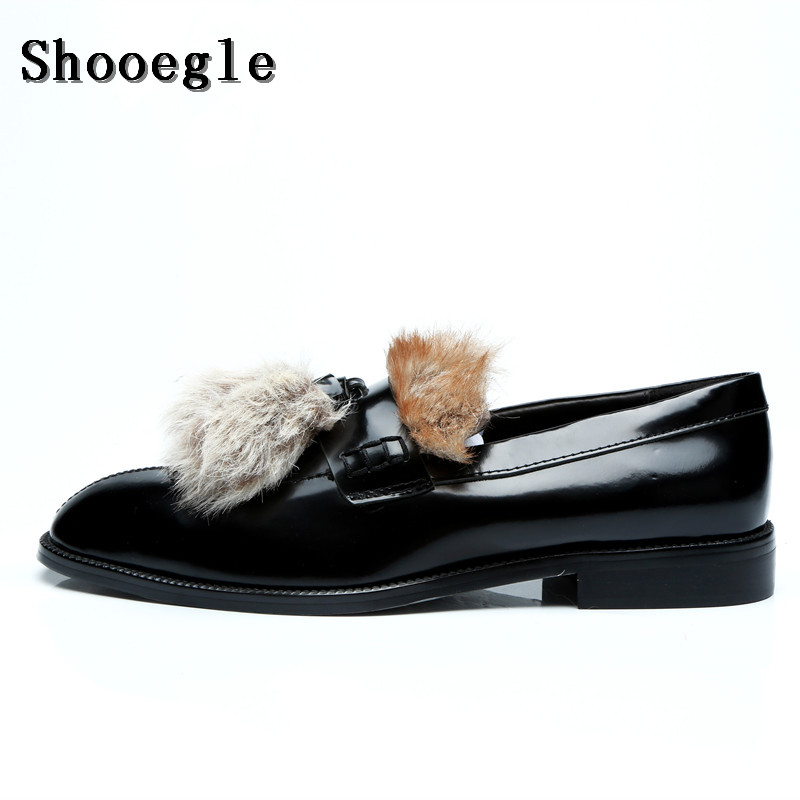SHOOEGLE Men Luxury Customized Furry Hair Shoes Autumn Fashion Fur Slip-on Loafers Smoking Casual Shoes Man Party Dress Shoes цена 2017