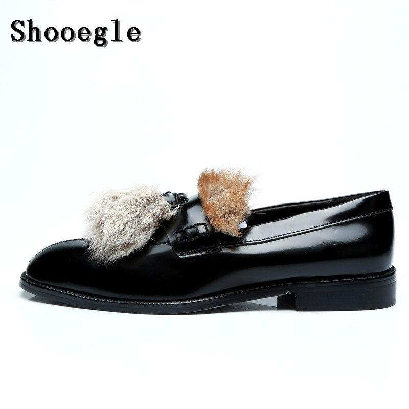 SHOOEGLE Men Luxury Customized Furry Hair Shoes Autumn Fashion Fur Slip-on  Loafers Smoking Casual 9a1826ea4936