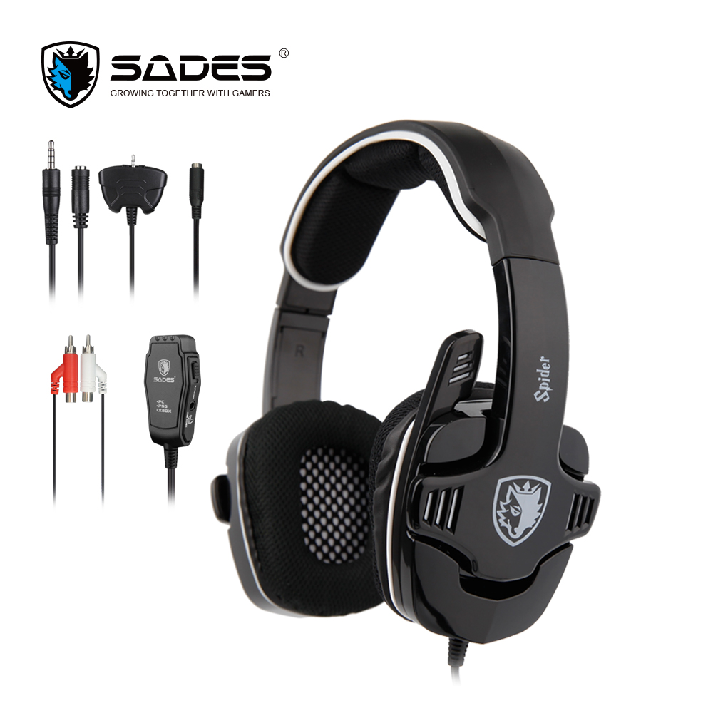 SADES Spider Stereo Sound Headphones 3.5mm Headset Gaming Headphone with Foldable Microphone for xiaomi Phones Xbox/PS4 Gamer wired headphones earphone gaming headset foldable headphone with microphone stereo headset gamer for computer iphone xiaomi sony