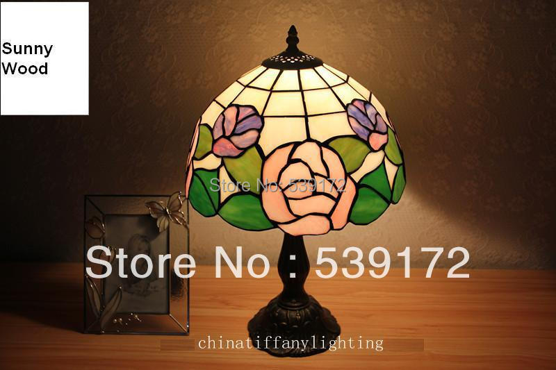 Free Shipping 12Inch Shell lamp, tiffany lamp,Free 5W E27 LED Bulb for promotion, table Lamp for living room 90-260VAC TEN-T-098