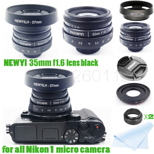 7 in 1 kit 35mm f/1.6 CCTV mini lens for Nikon1 V1 / J1 / V2 / J2 / J3 / V3 / S1 / S2 / AW1 / JMount Camera & hood Adapter meke meike mk 35mm f1 7 large aperture manual focus lens for nikon1 v1 v2 v3 s1 s2 j1 j2 j3 j4 j5 cameras