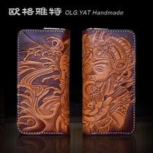 OLG.YAT handmade wallet men purse women wallets Elephant God Italian Vegetable tanned leather Hand-carved handbags long zipper
