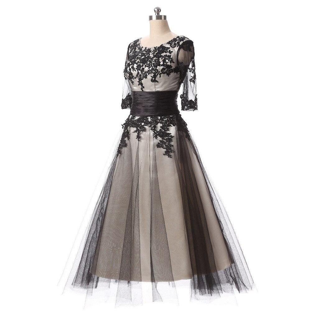 תחרה שחורה בציר אורך תה שמלות קוקטייל שמלות ערב שרוול ארוכה תחרה עד בחזרה טול אפליקציות רשמית נשים dress