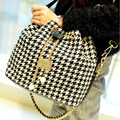 YOUYOU MOUSE National Wind Bucket Bag Wild Striped Canvas Shoulder Bag Women Fashion Printing Plaid Pattern Messenger Bag