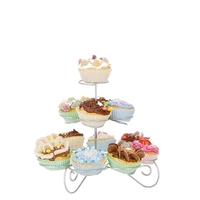 European Style Three Layer Cake Stand Wrought Iron Tree Stand Cupcakes Dessert Metal Frame Swing