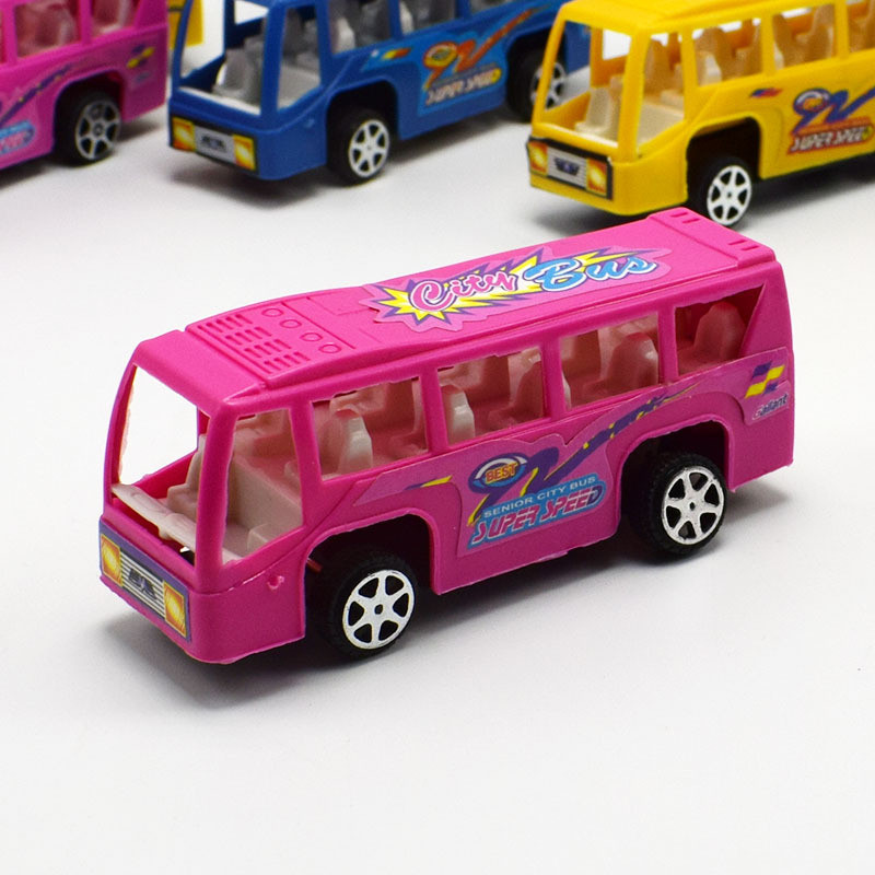 New Little Bus Plastic Shuttle Car Model With Pull Back Toy pvc Car For Kids Birthday Gifts Toys