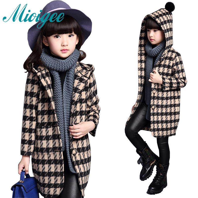 купить Kids 2017 fall winter Korean girls woolen coat large Tong Gezi children in the long section woolen coat 110-170cm недорого