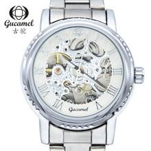 Теги бренда Gucamel Механические Часы Мужчины Мода Ретро Бронзовый Скелет Автоматические Механические Часы Наручные Часы Reloj Hombre