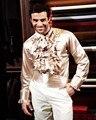 Champagne camisa por encargo cualquier color de seda elástica como el satén de boda de hombre camisas novio del desgaste del novio Slik camisa para hombre CS7