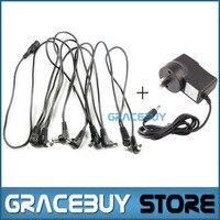1 pcs 9 V DC 1A fonte de energia, 1 pcs 8 maneira Daisy Chain cabo cabo de alimentação para venda, Efeitos de guitarra adaptador de alimentação e cabo