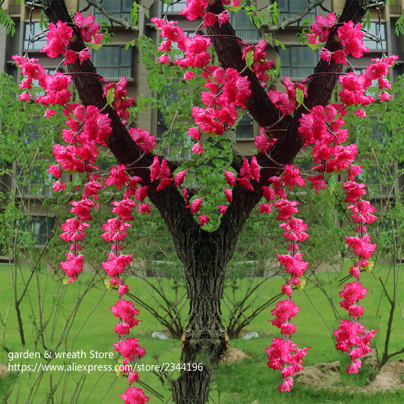 (white pink fuchsia) artificial flower strings small cherry flowers rattan wedding party home decoration
